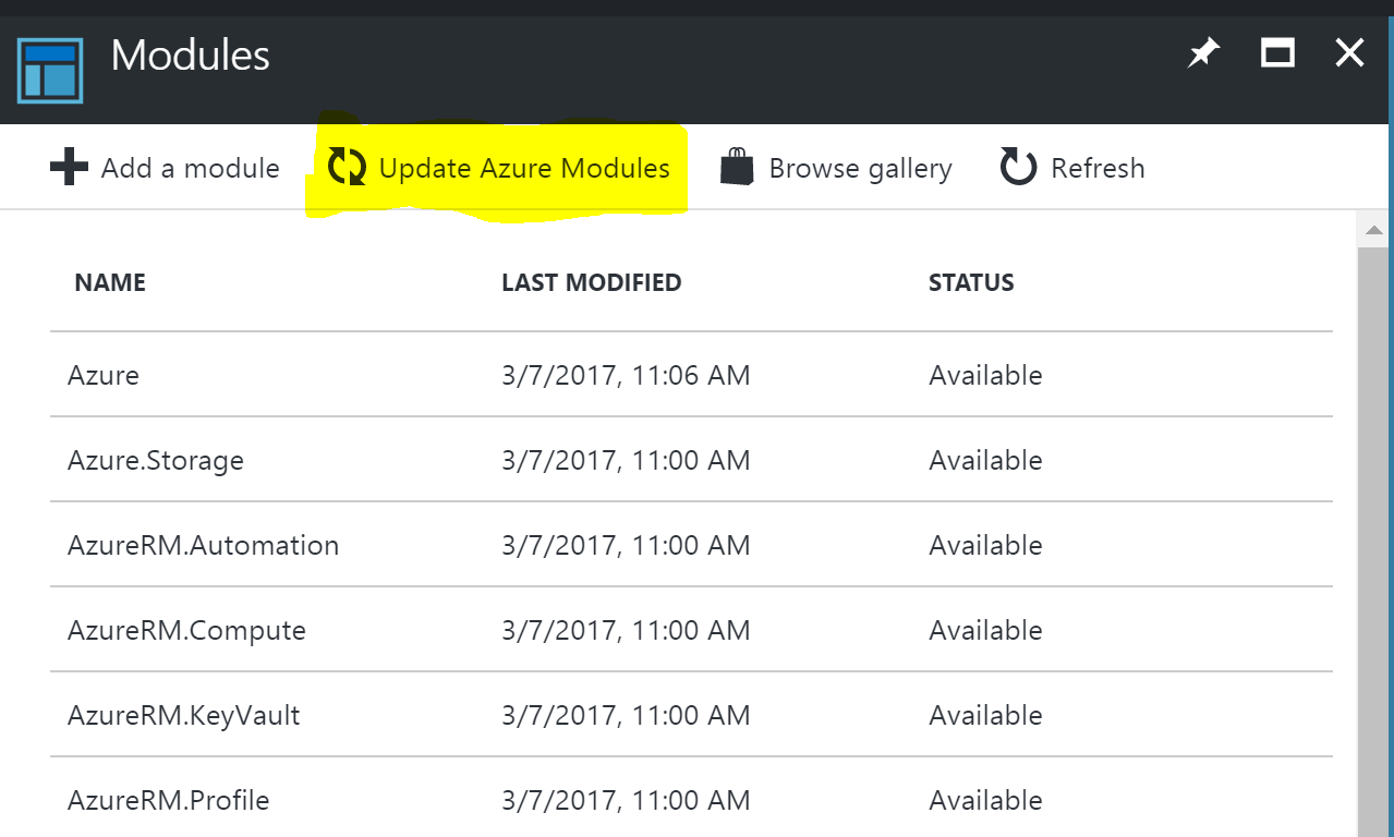 AzureAutomation-UpdateAzureModules