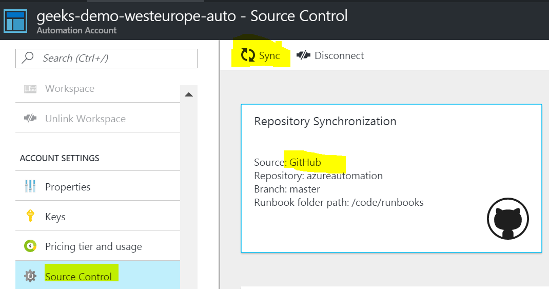 Sync Azure Automation Account with GitHub