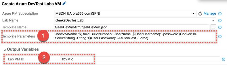 Azure DevTest Lab Task Configuration