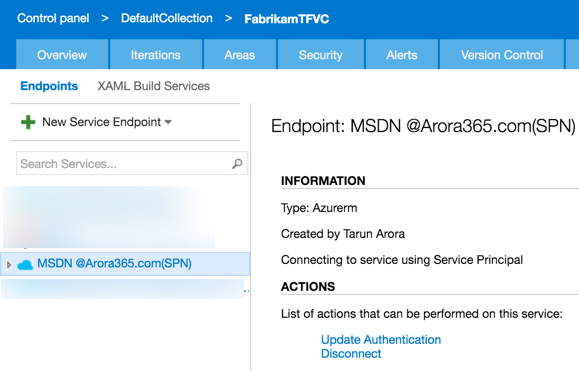 VSTS Azure Resource Manager Endpoint