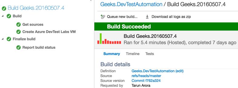 VSTS AzureDevTestLab trigger new VM deloyment