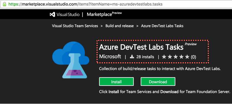 Install Azure DevTest Lab VSTS Extensions