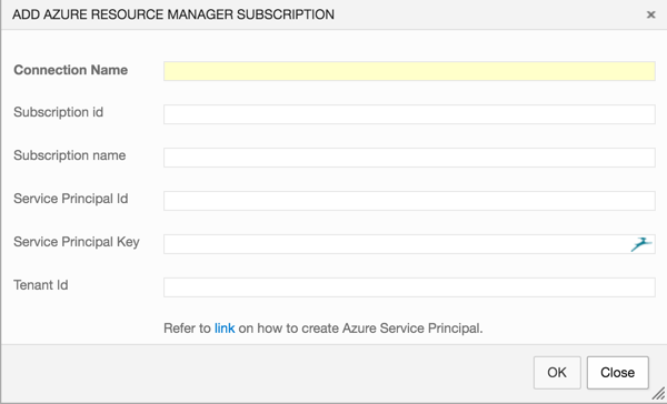 VSTS Azure Resource Manager Connection Settings