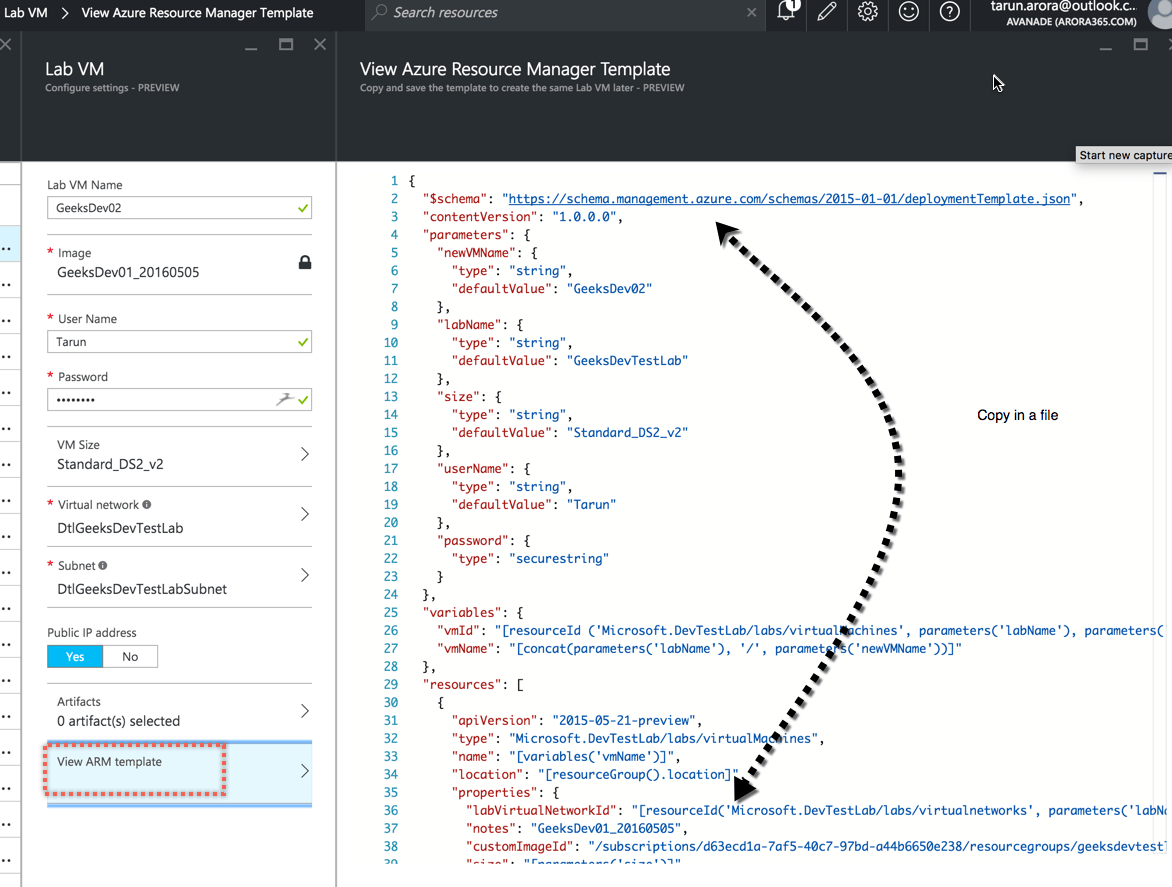 Export ARM Template from AzureDevTestLab VM
