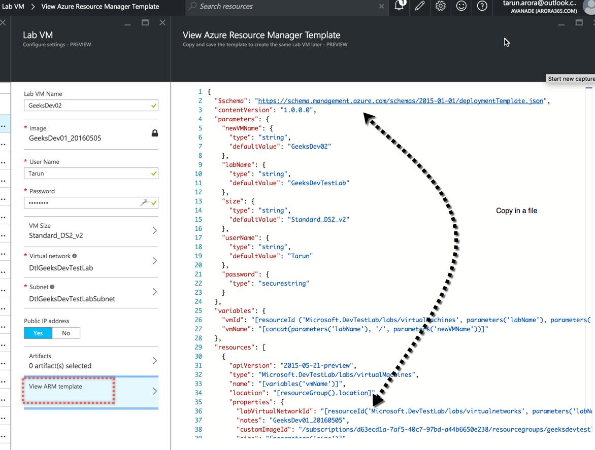 AzureDevTestLab ARM Template