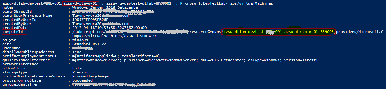 Get all Azure DTL Virtual Machine Properties Programmatically with AzureRm PowerShell
