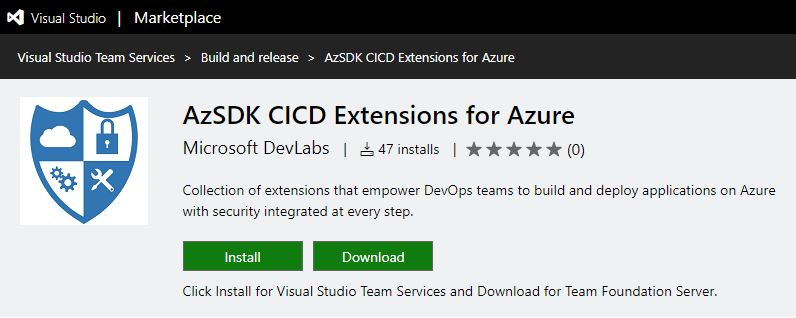 AzSDK VSTS Marketplace