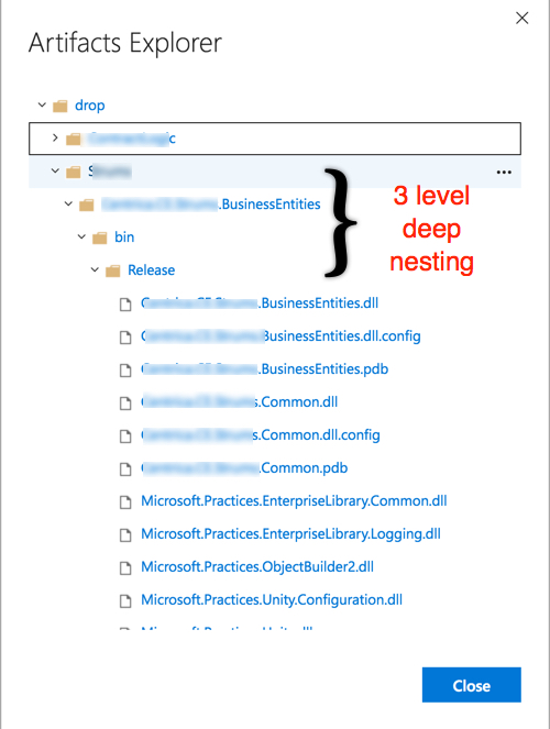 Default build output nested 3 levels in