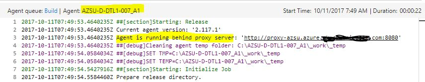 VSTS Private Agent Proxy Config Test Validate