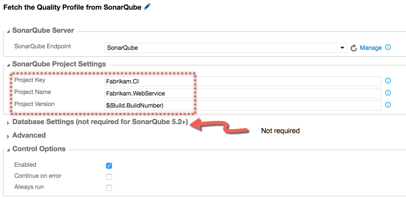 VSTS SonarQube Begin Analysis Task Configuration