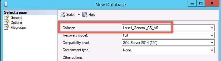 SonarQube SQL Database collation