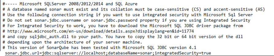 StartSonar without install SQL connection string