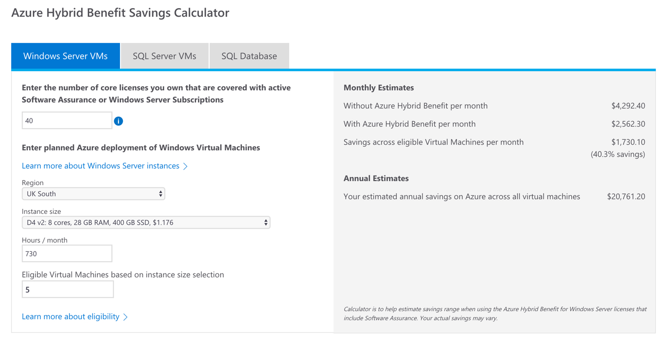 Azure Hybrid Benefits Savings Calculator