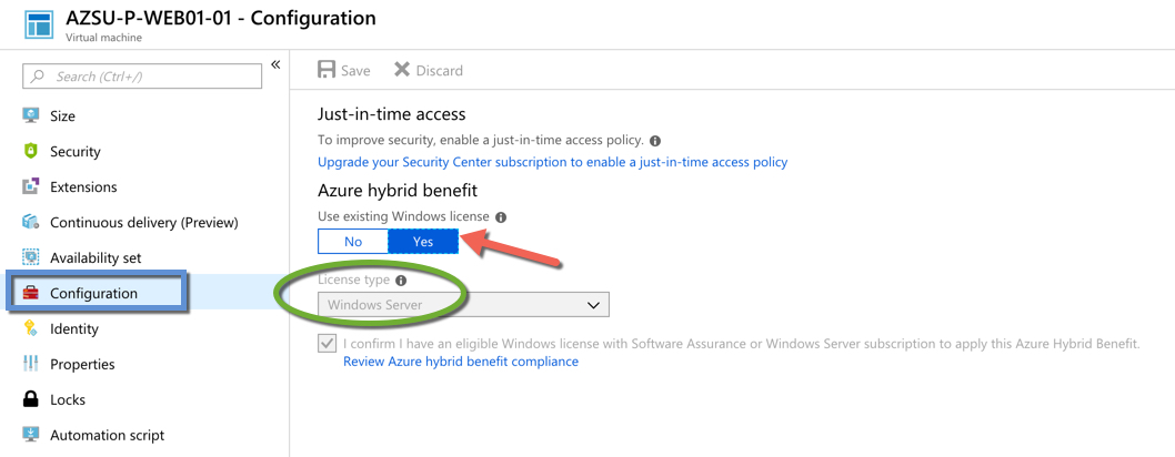 Azure Hybrid - Windows Server License