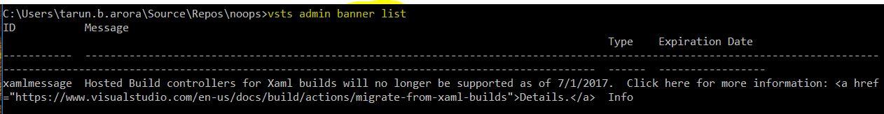 VSTS CLI banner list