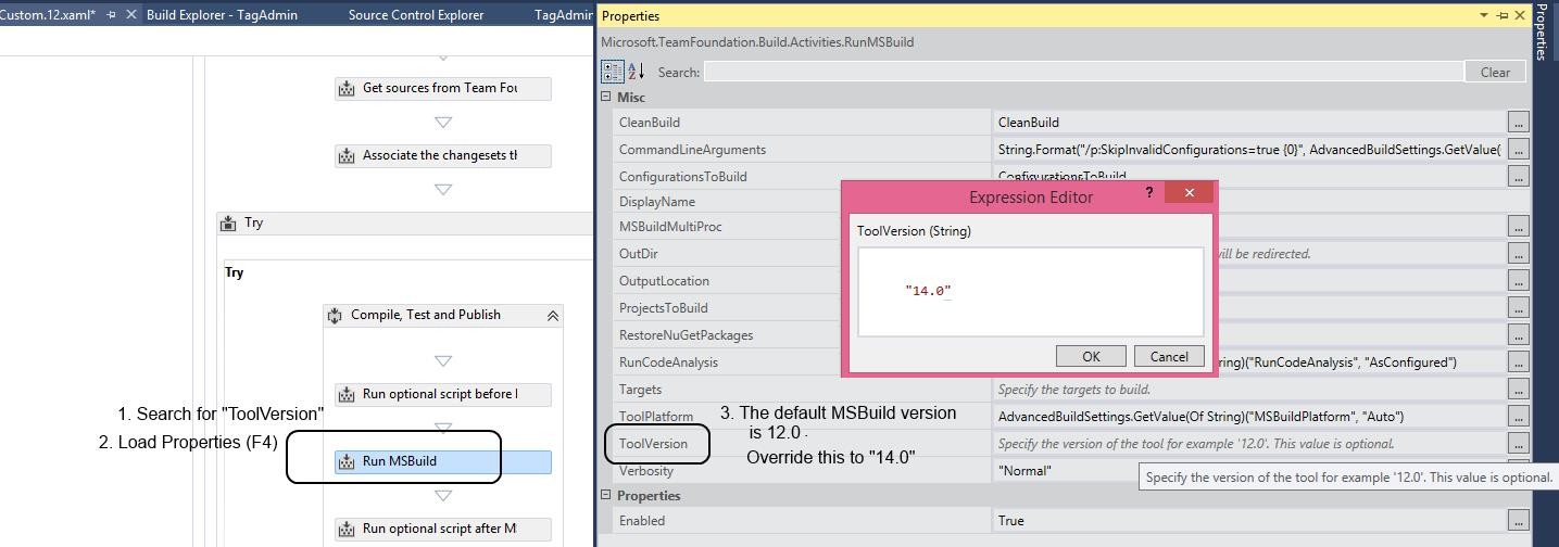 Customize TFS 2013 template to work with MSBuild 14.0