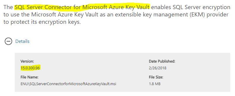 Sql Server connector for Microsoft Azure Key Vault v15.0.300.96